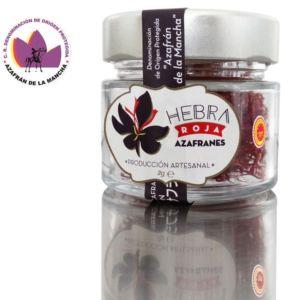 Azafran de Albacete en tarro de vidrio con tapa metálica «Hebra Roja»