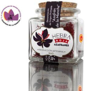 Azafrán de Albacete en tarro de vidrio con tapón de corcho «Hebra Roja»