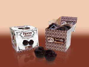 Rocas artesanas de chocolate negro