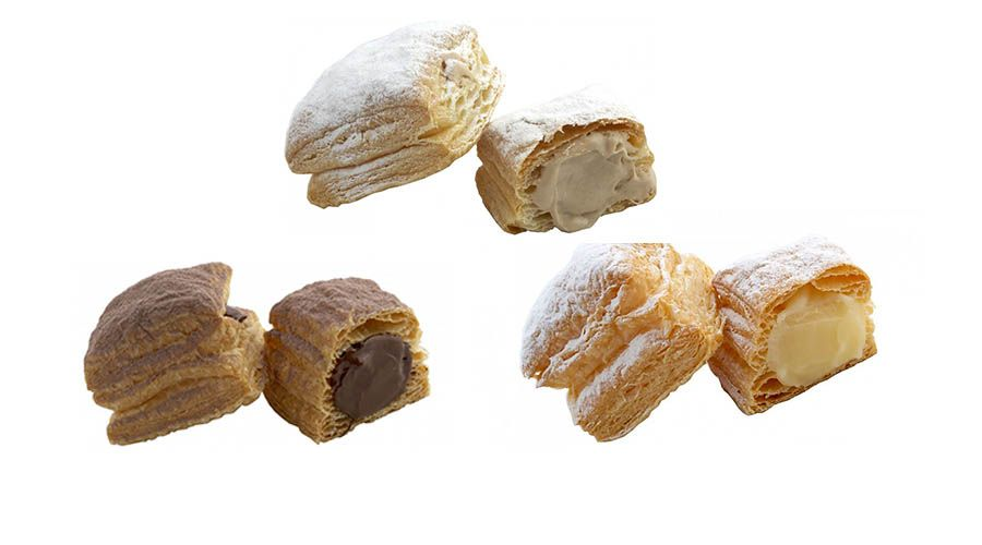 Variedades de Miguelitos (crema, chocolate, chocolate blanco)