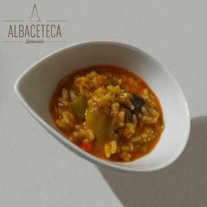 Arroz meloso con alcachofas confitadas y setas shiitake
